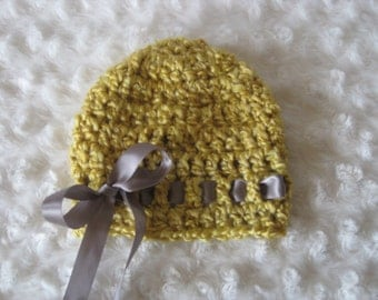 Crochet Baby Hat Girl Ribbon Handmade Photo Prop Mustard yellow gold hat with grey  ribbon