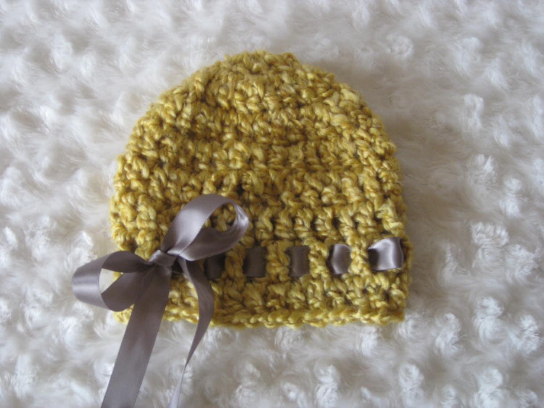 Crochet Baby Hat Girl Ribbon Handmade Photo Prop Mustard