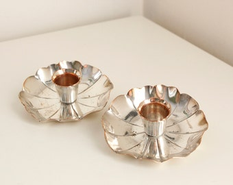Arts & Crafts Style Lily Pad Candlesticks, Unsigned Vintage Pair, Silver Over Copper