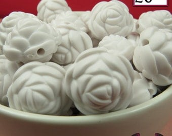 12 FLOWER ROSE BEADS 20mm Matte White Acrylic Flower Beads, Acrylic Beads, Chunky Beads, Bubblegum beads
