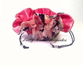 Travel Jewelry Bag / Drawstring Jewelry Organizer / Jewelry Tote/ Cosmetic Bag / Coral Silver and Black Floral Design / Coral Satin Inside