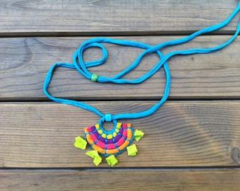 Fabric Necklace - Multicolored - Turquoise, Purple, Pink, Orange, Neon Green