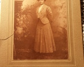 Vintage 1800s Photograph Lady in Hat  4 X 5 1/2 inches
