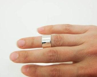 Sterling Silver Midi Ring - Wide Silver Midi Ring - Wide Sterling Midi Rings - Adjustable Silver Mid Knuckle Band - Silver Mid Finger Cuff