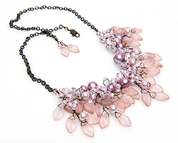 Pink Beaded Necklace, Bib Necklace, Bridal Jewelry, Nature Inspired Jewelry, Leaf Jewelry