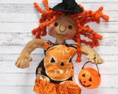 Halloween Orange Jack-o-Lantern Witch Doll (HAFAIR)