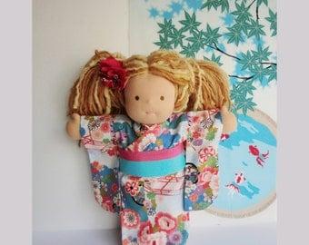 Doll kimono for a 15 inch Waldorf inspired dolls, doll japanese yukata, handmade doll dress, girl and doll kimono, waldorf dolls kimono,