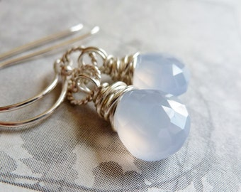 Periwinkle Blue Chalcedony Earrings / Sterling Silver / Wire Wrapped / SimplyJoli / Baby Blues