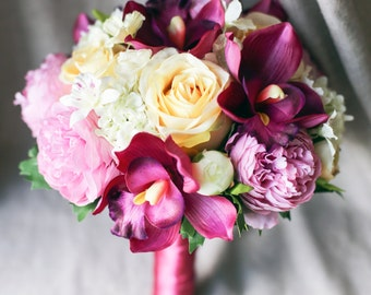 Cymbidium Orchid and Peony Silk Flower Bouquet | Red wedding bouquet | Elegant silk flower bridal bouquet