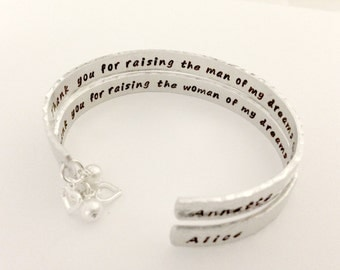 Personalized Mother In Law Wedding Cuff Bracelet Set, Thank You For Raising The Woman Man of My Dreams - Secret Message, Pearl & Heart Charm