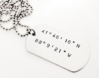 Personalized Latitude & Longitude Dog Tag - Hand Stamped Custom Mens Necklace - Coordinates Dog Tag - Wedding, Long Distance, Couples Gift