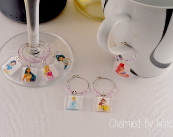 Princess Wine Charms - (Set of 7) : Cinderella, Ariel, Snow White, Jasmine, Aurora, Belle, Pocahontas