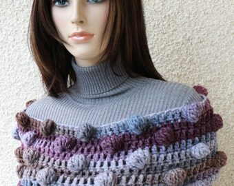 Crochet Scarf PATTERN, Crochet Bobble Stitch Scarf, DIY Scarf, Gift For Women, Unique Scarf, Instant Download, PDF #116, Lyubava Crochet