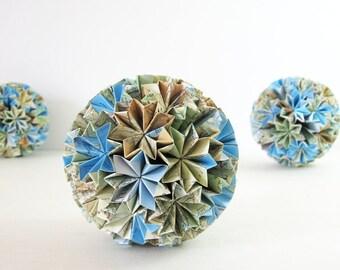 Origami Kusudama Paper Ornament - Paper Globe of Stars Modern Home Decor Recycled Map Paper Art Geometric Paper Sculpture Paper Anniversary