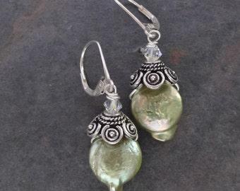 Chartreuse Pearl Earrings