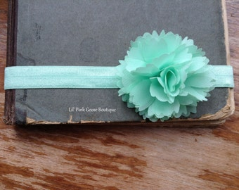 MINT GREEN Headband, Pastel Green Headband, Mint Baby Headband, Newborn Headband, Newborn Photo Prop, Shabby Chic Headband, Infant Headbands