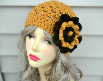 Womens Hat, Crochet Beanie Hat, Womens Accessories, Adult Hat Crochet Hat, Flower Hat, Hair Accessories, Yellow Hat, Summer Hat, Winter Hats