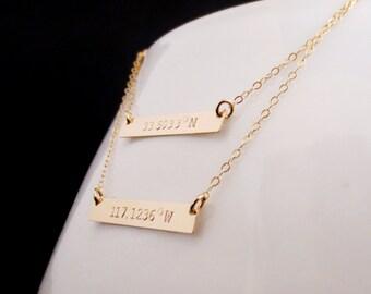 Personalized Gold Bar Necklace, Layered Gold Bars, Latitude Longitude Coordinates, Handstamped Minimalist, Valentines Mothers Day