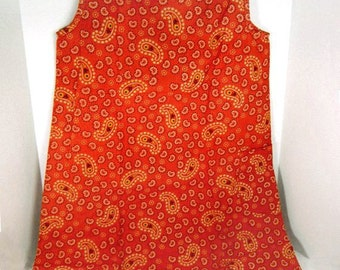 "Rare paper dress by Scott Paper Co. ""Paper Caper""  from 1966 famous op art disposable fashion red paisley design - collectible"