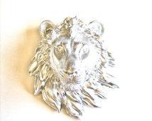 Faux Taxidermy Small Lion Head Wall Decor, Leonard the Lion in silver