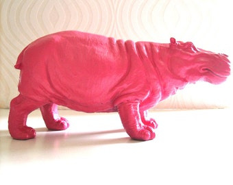 HOT PINK Large Hippo Statue in hot pink:  Hans the Hippo nursery kids room office decor children's table top animal statue // unique gift