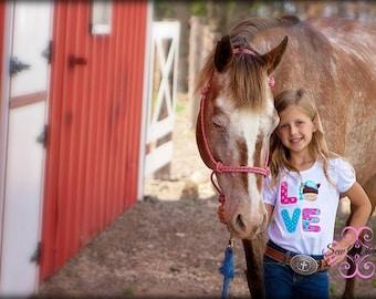 LOVE Horse shirt or bodysuit, Horse shirt
