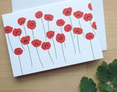 Red Poppies Greeting Card (Blank)