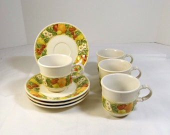 METLOX Poppy Trail Vernonware - Della Robbia Pattern 4 Cups and Saucers