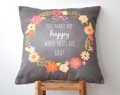 """Valentine Pillow, Christmas Pillow, Mothers Day Decorative Pillow, Throw Pillow, Cushion Cover, Floral Pillow 16"""" x 16"""""""