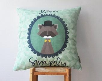 "Kids Throw Pillow, Woodland Pillow, Decorative Pillow, Geometric Kids Pillow, Cushion Cover, Kids Pillow Cover, Hipster Raccoon 16"" x 16"""
