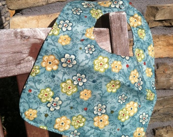 TODDLER or NEWBORN Bib: Flowers in a Field of Seafoam Teal, Personalization Available