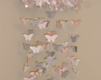 Pink, Gray, and White Chandelier Butterfly Mobile