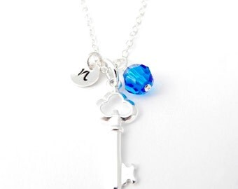 Silver Key Necklace with Birthstone, Personalized Necklace, Sterling Silver, Birthstone  Jewelry, Initial Necklace, Personalized Jewelry