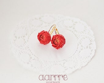 Handmade floral earrings, yellow central petals, scarlet outer petals