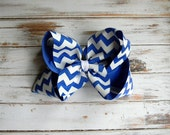 Royal Blue Chevron Hair Bow Boutique Hair Bow Chevron Girls Bow Jumbo U choose color Girls Baby Toddler Wedding Birthday Holiday Pageant