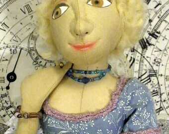 Francesca, handmade cloth doll, 16 inches tall in blue Rococo style gown