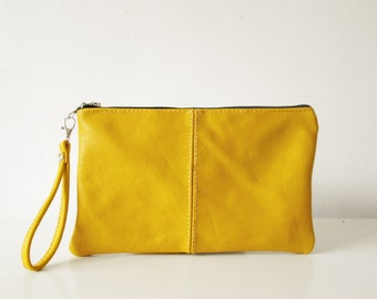 Yellow Leather clutch, Wristlet, Pouch, Mustard Yellow, Summer clutch