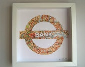 BESPOKE Vintage Map Art // LONDON UNDERGROUND station of your choice // hand made from a vintage map