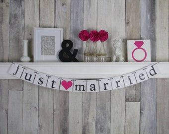 Wedding Backdrop - Just married banner decoration - Fuchsia