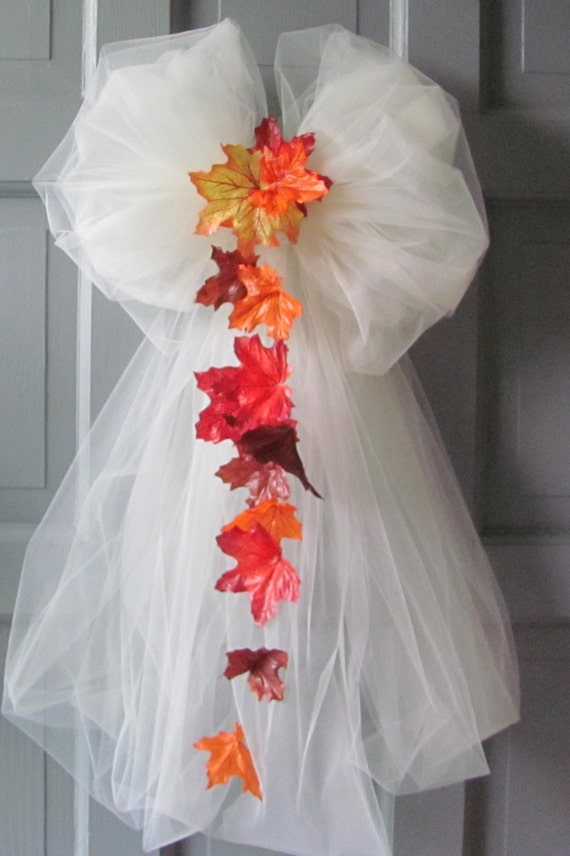 Items similar to wedding bows autumn leaves ivory tulle pew chair decorations on etsy - Bow decorations for weddings ...