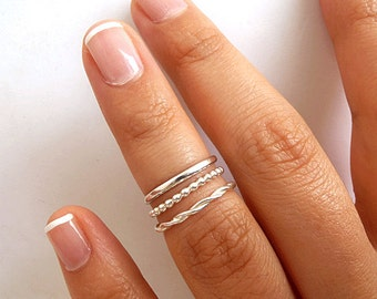 3 Knuckle Rings - Sterling Silver Knuckle Rings - Above Knuckle Rings - Silver Midi Rings - Twisted Ring - Beaded Ring - Plain Ring