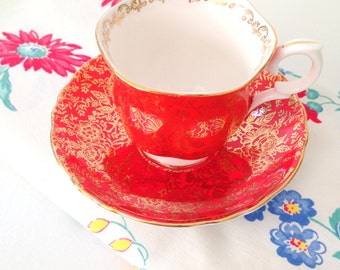 Vintage English Fine Bone China Crown Staffordshire Tea Cup and Saucer Tea Party
