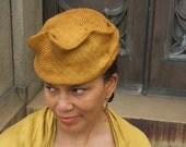 Ladies' Whimsical Straw Hat- Pill Box-Fun Hat, New Hand Blocked-1930's Vintage Inspired-Golden-Custom Only- Bronze Straw Hat-Parasisal Straw