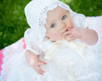 Off White Exquisite Lace Overlay Christening Gown, Baptism Gown, 0-3 months, 3-6 months, 6-9 months, 9-12 months, 12-18 months, 18-24 months