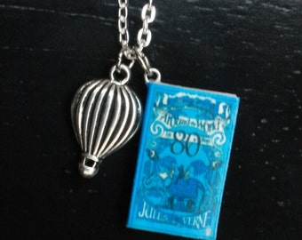 Around the World in Eighty Days Mini Book Necklace
