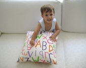 Children's room decor - Alphabet Pillow Cover - White Linen with Pastel Letters Print on it - Gift for kids, for her - Ready to Ship