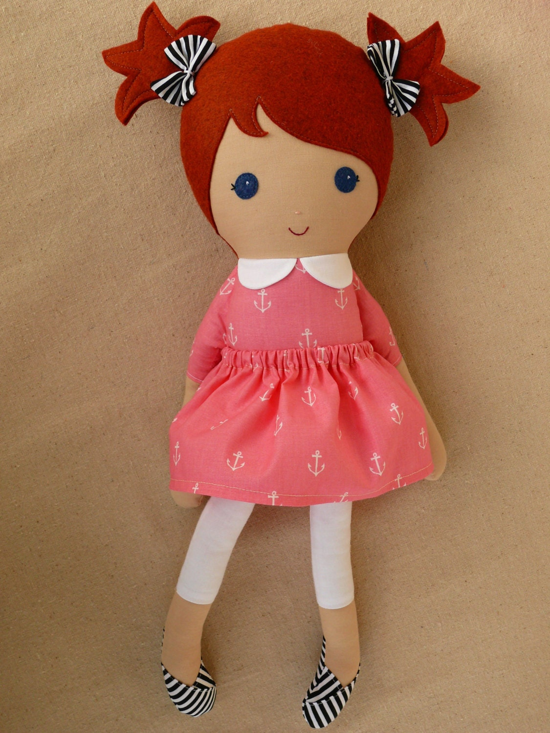 Reserved for Nikole Fabric Doll Rag Doll Red Haired Girl in