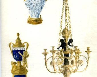 Mid Century Signed Original Design Watercolor for Chandelier+ by Jean Yudis 1950s