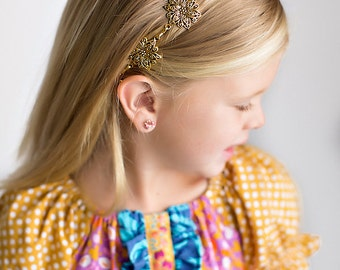 Antique Silver or Gold Vintage Inspired Metal Filigree Flower Headband - Fits Infants, Toddlers, Girls, Tweens, Teens, and Adults