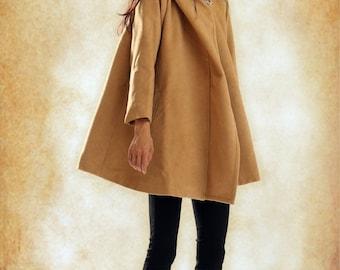 Hooded Cape Cloak for Women in Black/Camel/White, Winter Cape Coat, Wool Cape, Wool Cloak, Wool Long Coat